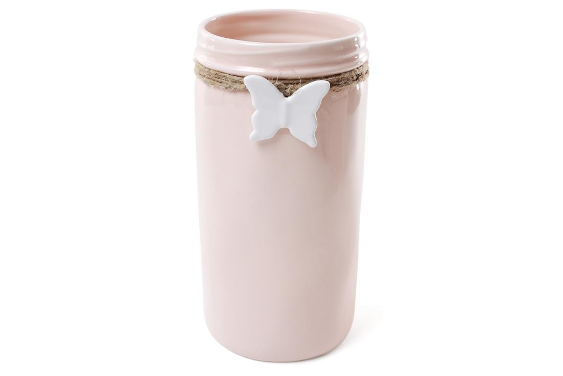 Ваза керамическая с подвеской Бабочка 26 см цвет розовый BonaDi 902141