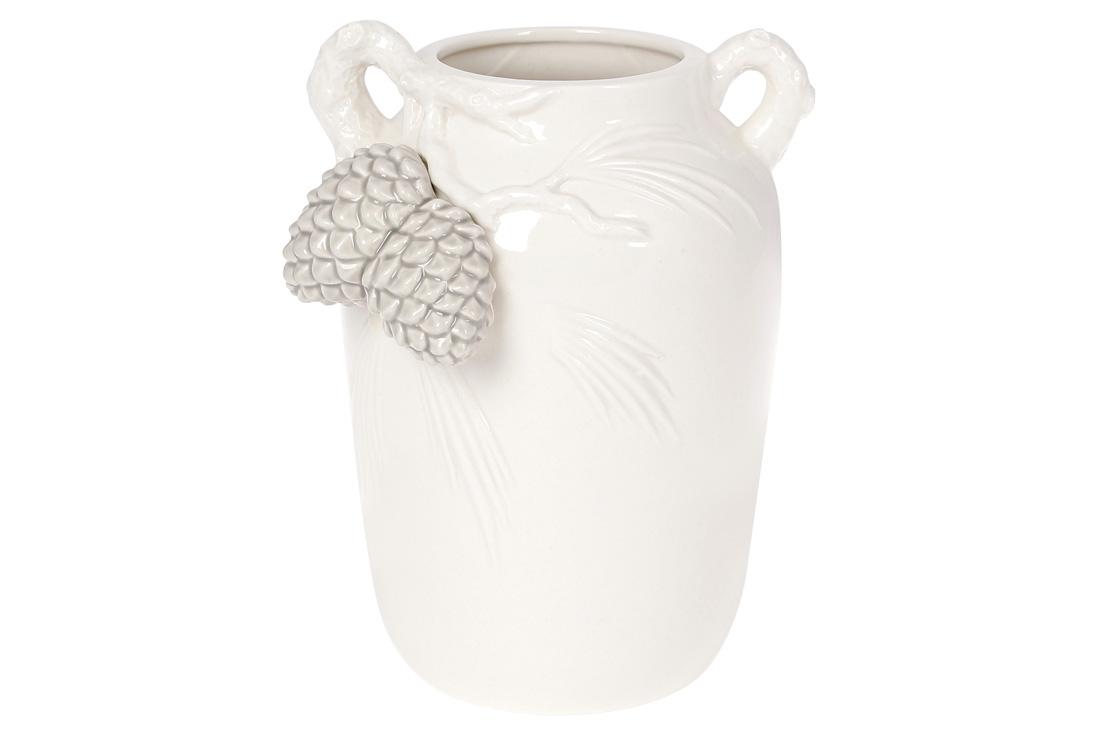 Декоративна Ваза з ручками і об'ємним декором Шишки колір білий з сірим BonaDi 322 727