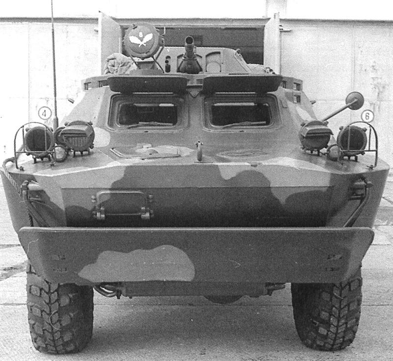 Бронированная разведывательно-дозорная машина БРДМ-2. Вид спереди.