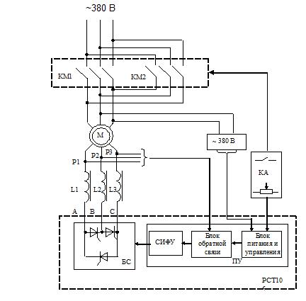 Схема функциональная дроссельного электропривода с тиристорным регулятором скорости.