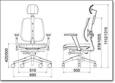 Офисное кресло Duorest Alpha A30H ― Размеры