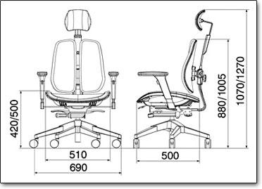 Офисное кресло Duorest Alpha A60H ― Размеры