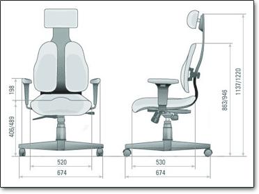 Компьютерное кресло Duorest Cabinet DR-140 - Размеры