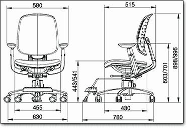 Детское ортопедическое компьютерное кресло Duoflex Kids Sponge ― Размеры
