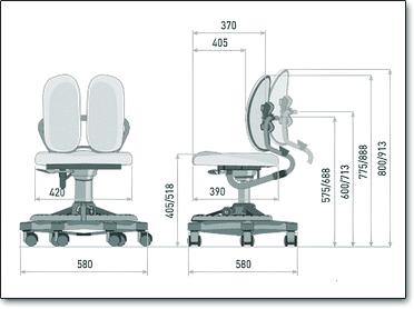 Детское ортопедическое кресло Duorest Kids DR-218A ― Размеры