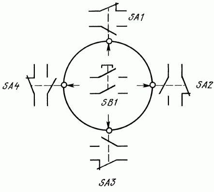 Электрическая схема переключателей ПК12-21-821, ПК12-21Д821, ПК12-21-822, ПК12-21Д822