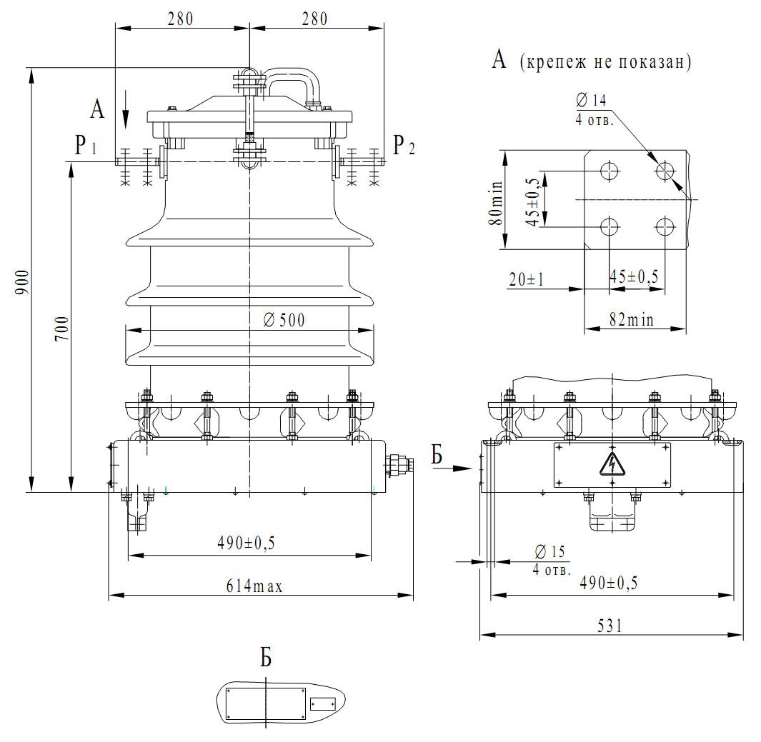 Чертеж трансформатора ТФЗМ-35 А (ТФЗМ-40,5 I)