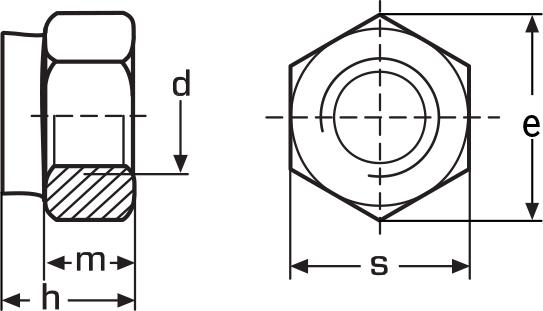 Картинки по запиту Гайки DIN 985 шестигранні низькі самоконтрящиеся з нейлоновим кільцем