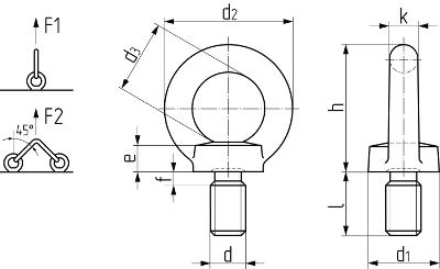 Болт с кольцом (рым-болт) DIN 580 (ISO 3266, ГОСТ 4751-73). Чертёж