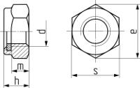 Гайка самостопорящаяся с пластиковым кольцом, низкая DIN 985. Чертёж