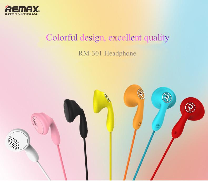 Original REMAX RM-301 Candy Colorful Dynamic Driver HIFI Earphone Headphone