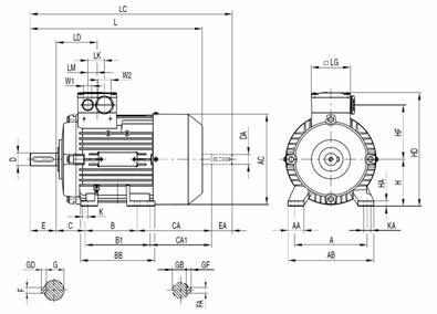 Габаритные и присоединительные размеры электродвигателя 1LA9 с 56 по 90 габарит (IMB5-фланец)