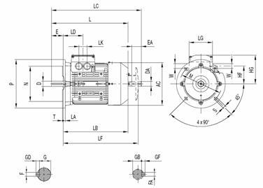 Габаритные и присоединительные размеры электродвигателя 1LA9 с 100 по 160 габарит (IMB5-фланец)