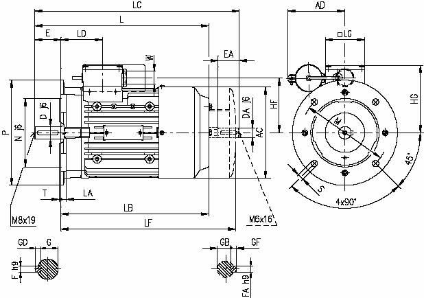 Габаритные и присоединительные размеры Siemens 1LF7 (фланец IMB 5)