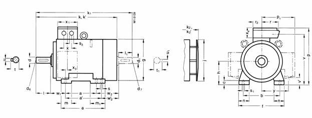 Габаритные и присоединительные размеры Siemens 1MG7 (лапы, 225S-315L)