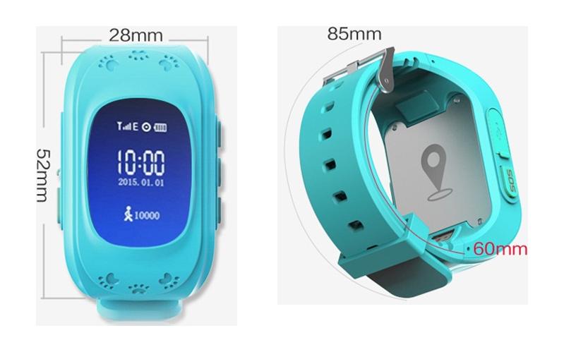Размеры детских часов с GPS-трекером Baby Watch Q50