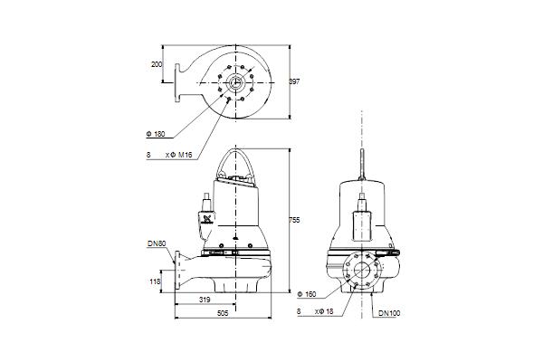 Габаритный чертеж насосов SL1.80.80.55.4.51D.C