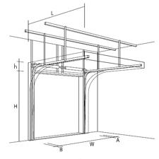Стандартный подъем секционных ворот, чертеж