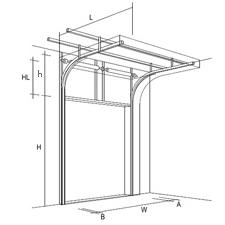 Высокий подъем секционных ворот, чертеж