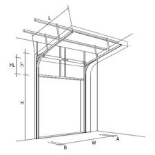 Высокий наклонный подъем секционных ворот, чертеж