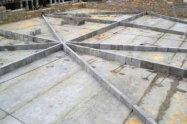 Еще один способ сформировать уклон - выставить направляющие перед заливкой стяжки и по ним ровнять бетон