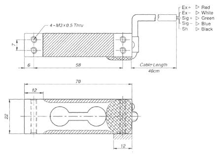 Габаритные размеры тензодатчика CAS BCL 1-3 кг