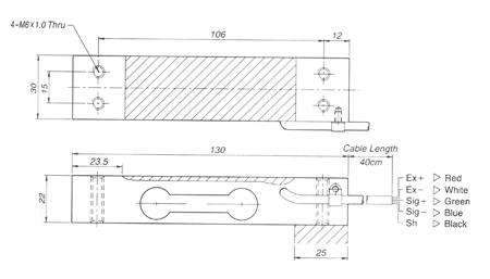 Габаритные размеры тензодатчика CAS BCL 6-30 кг