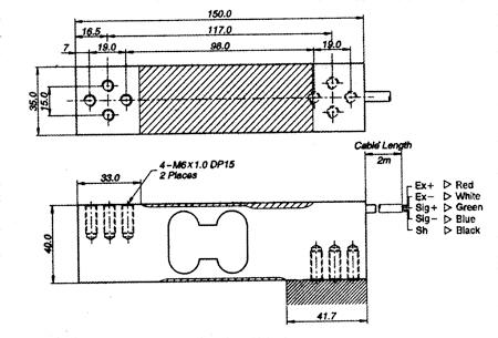 Габаритные размеры тензодатчика CAS BCL 60-200 кг