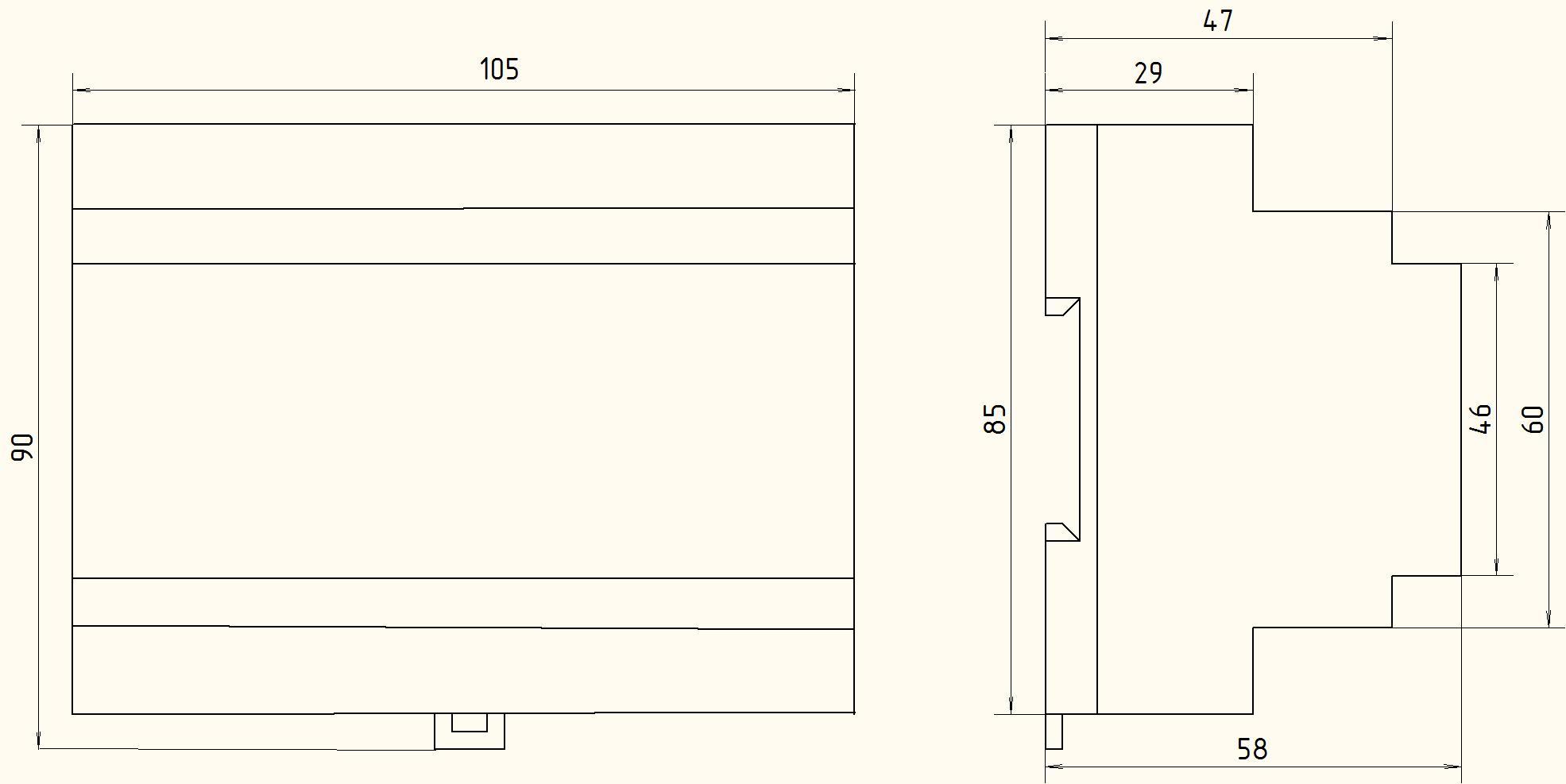 ПБР-2МН Габаритные размеры пускателя бесконтактного реверсивного для монтажа на din-рейку