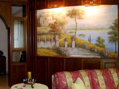 фреска в интерьере гостиной
