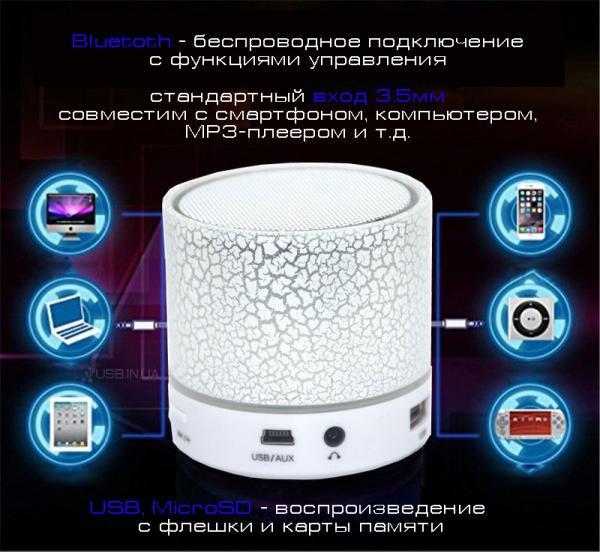Компактна Стерео-портативна колонка, з автономним живленням і знімним акумулятором. Зручна для підключення планшета, ноутбука, мобільного телефону, MP4-плеєра та ін.