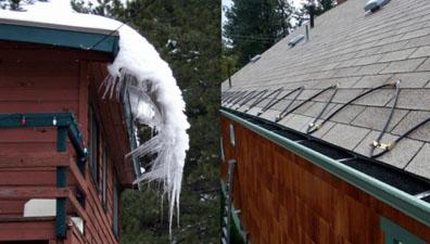 Карниз крыши без оборудованной системы снеготаяния и с нею