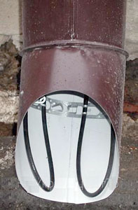 Нагревательный кабель в водосточной трубе