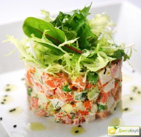 салат з червоною ікрою рецепт