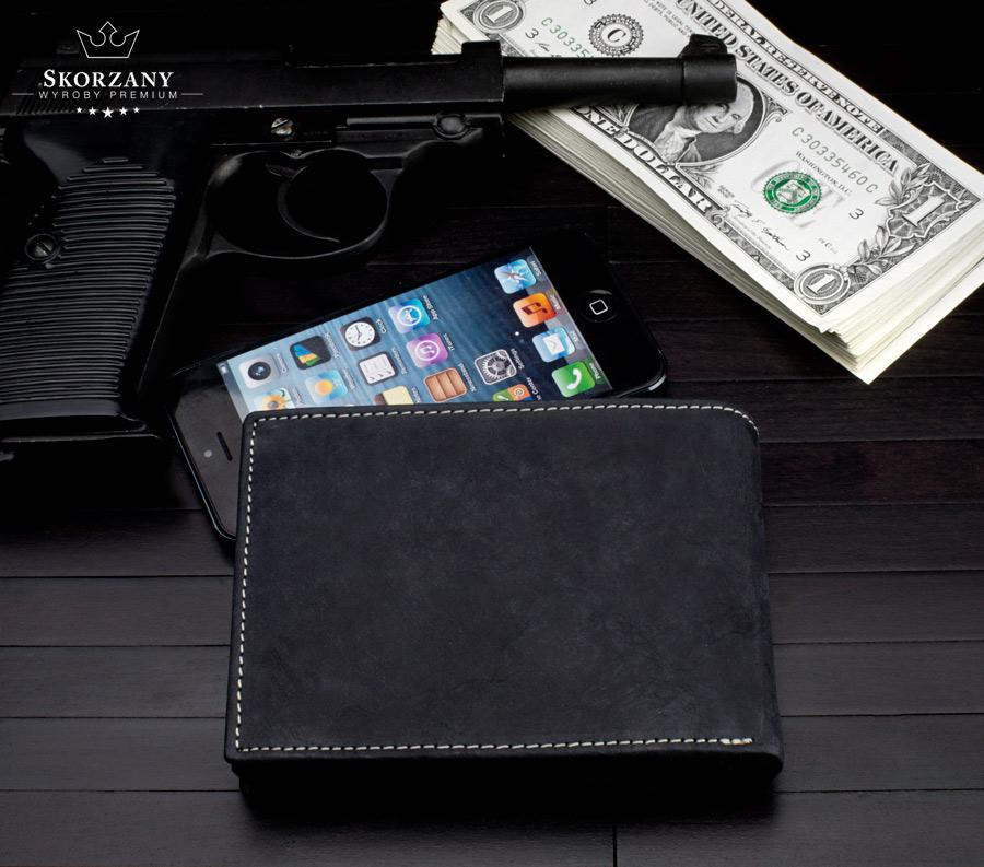 portfel ze skóry - widok z tyłu