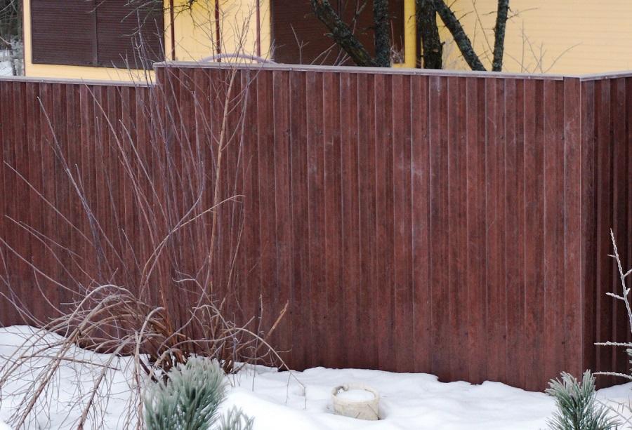 Забор из профнастила Мореный дуб