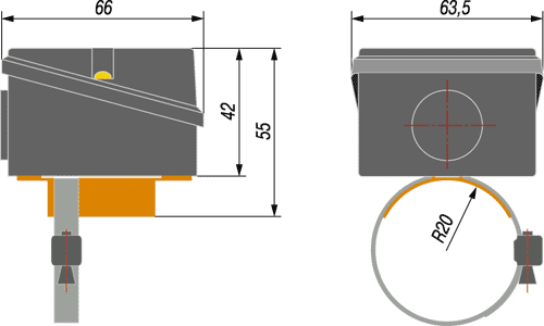 Габаритный чертеж термопреобразователя ОВЕН ДТС3105