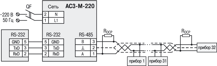Схема подключения АС3-М-220