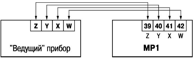 Схема подключения модуля к «ведущему» прибору