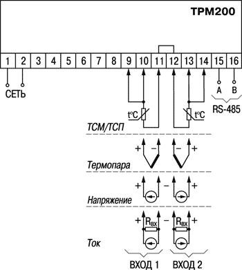 Схема подключения ОВЕН ТРМ200