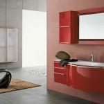 Красная мебель для ванной комнаты минимализм