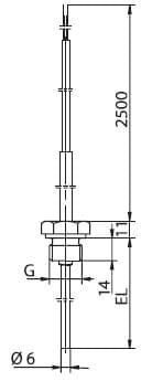 Резьбовая термопара с жестким технологическим присоединением G 1/2, внеш.резьба