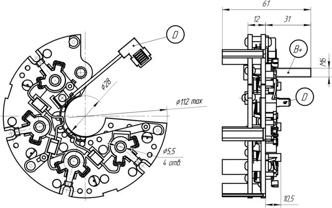 Габаритный чертеж блока выпрямительно-ограничительного БВО11-150-13